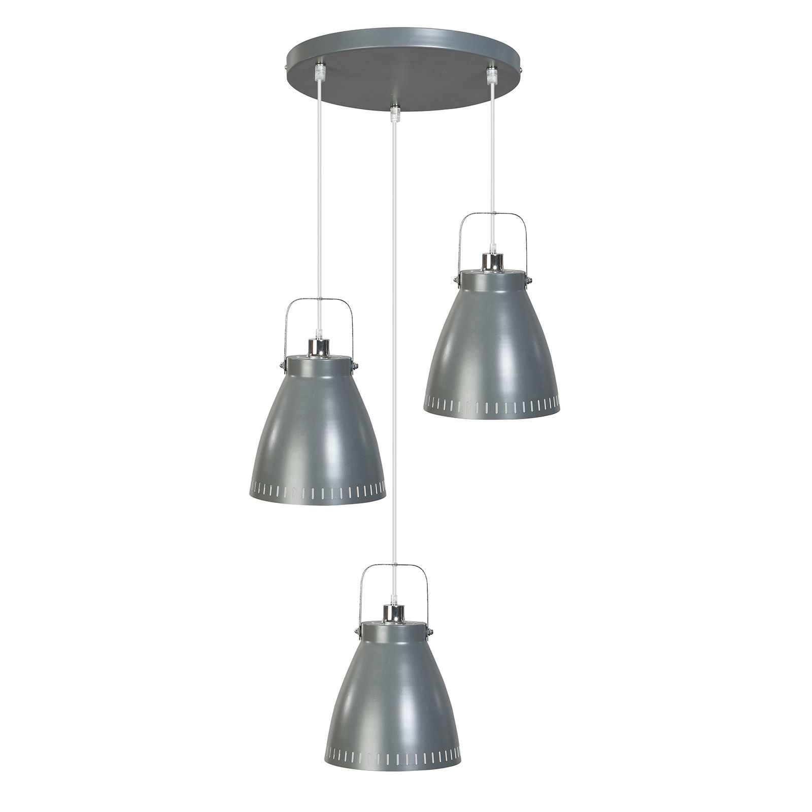 OUTLET - Acate hanglamp ETH 3x grijs/chroom rond