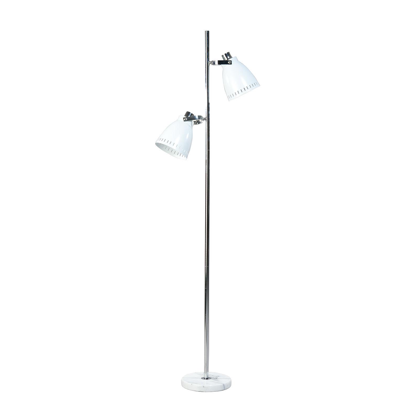 Acate vloerlamp ETH 2x wit/chroom