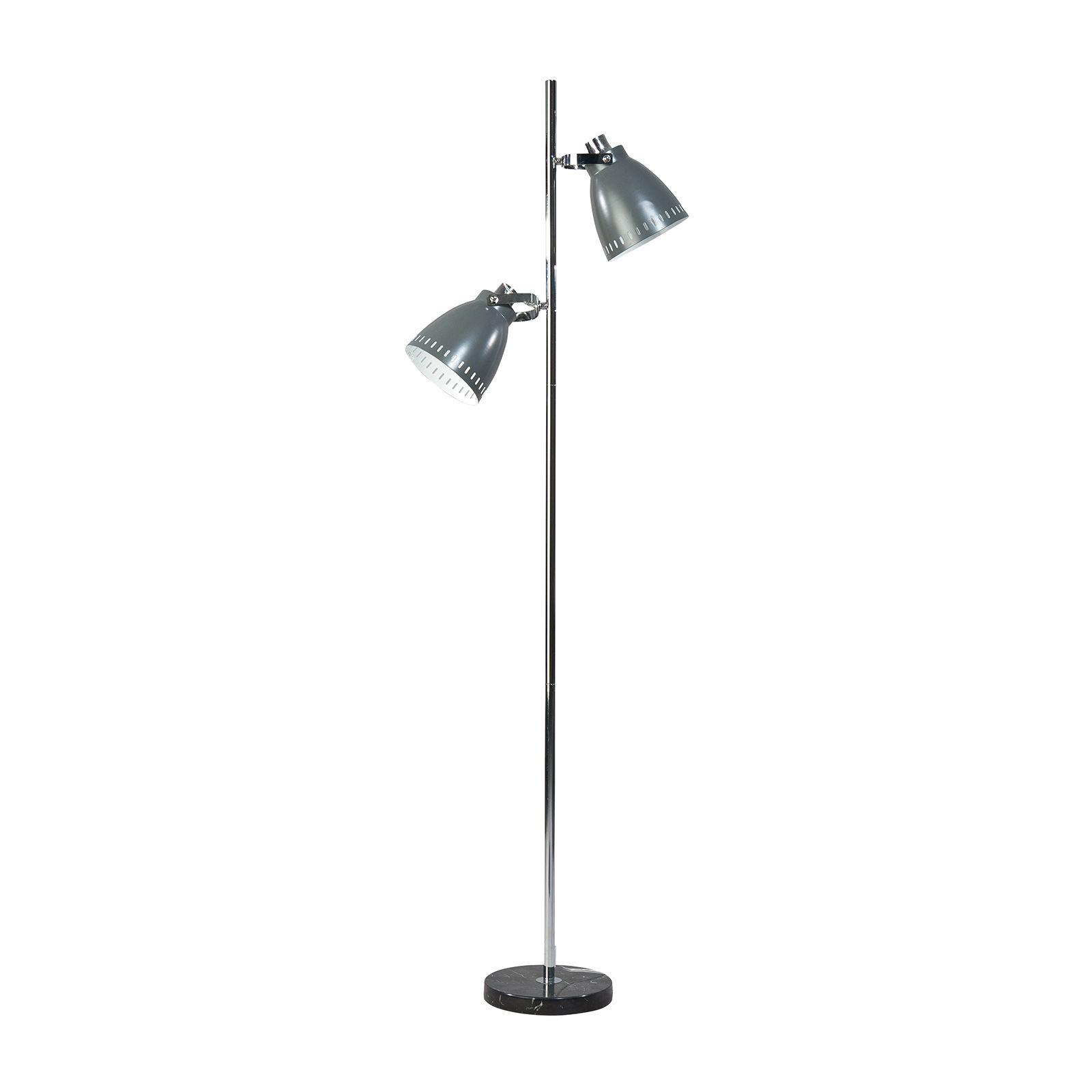 Acate vloerlamp ETH 2x grijs/chroom