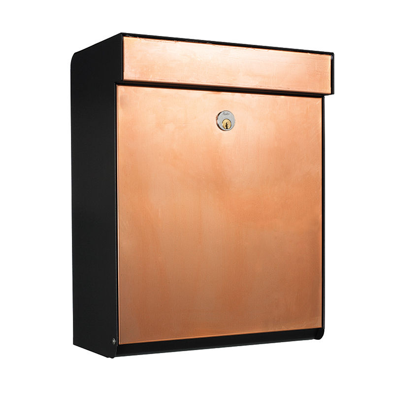 Grundform brievenbus Allux zwart - koper
