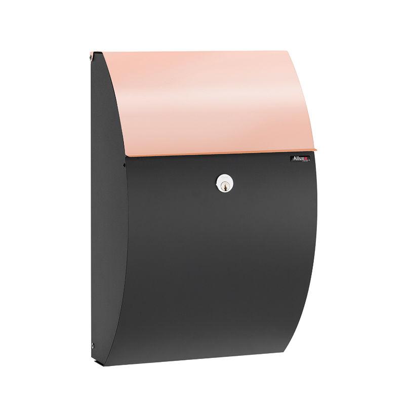Type 7000 brievenbus Allux zwart - koperen briefklep