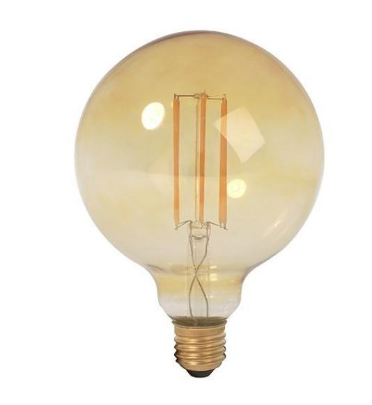 LED Filament Globe 125mm 4W GOLD dimbaar