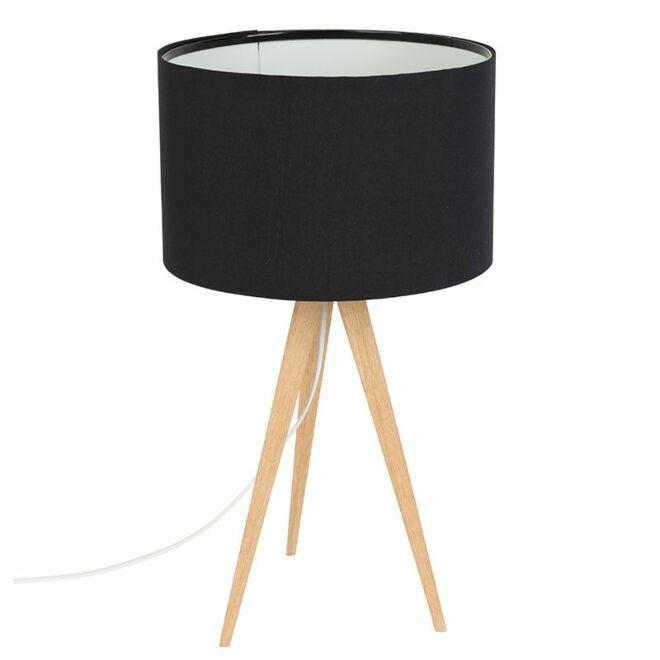 TriPod Wood tafellamp Zuiver zwart