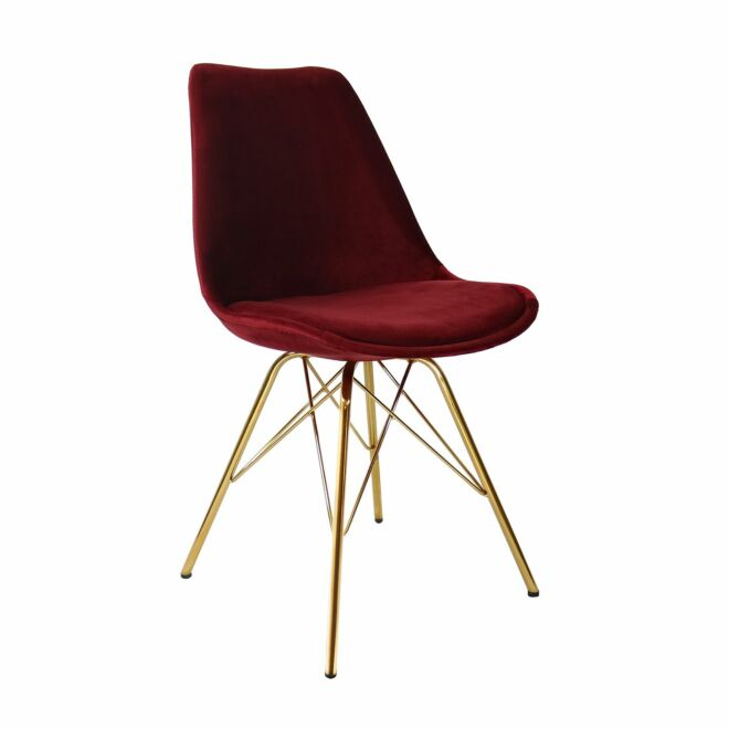 Velvet eetkamerstoel Kick Collection rood - gouden frame