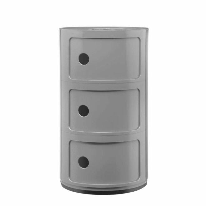 Componibili kast Kartell 3-deurs - zilvergrijs