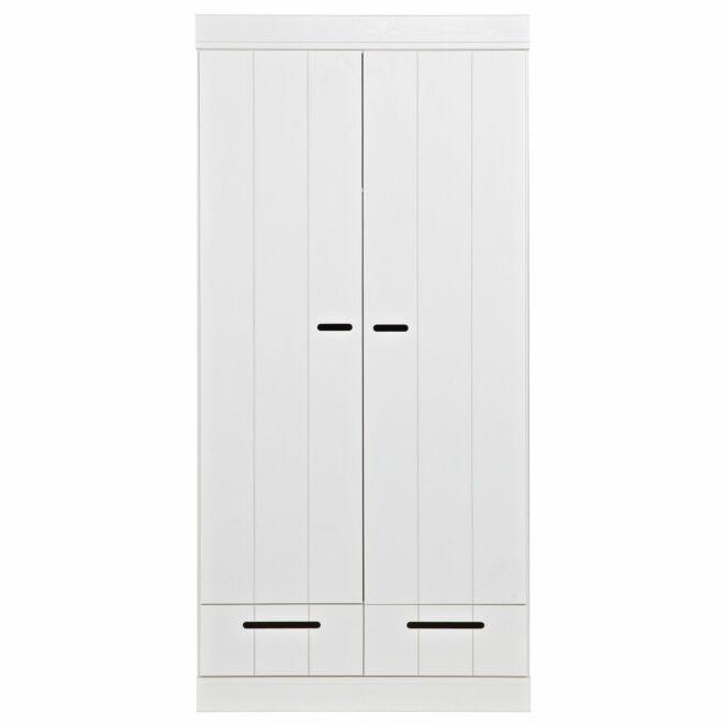 Connect kast Woood 2-deurs strokendeur met lades wit