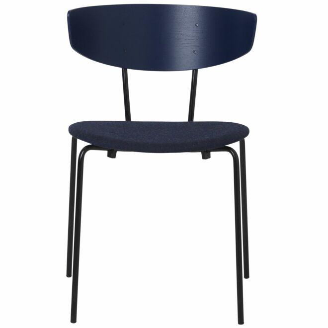 Herman eetkamerstoel Ferm Living donkerblauw met zitkussen