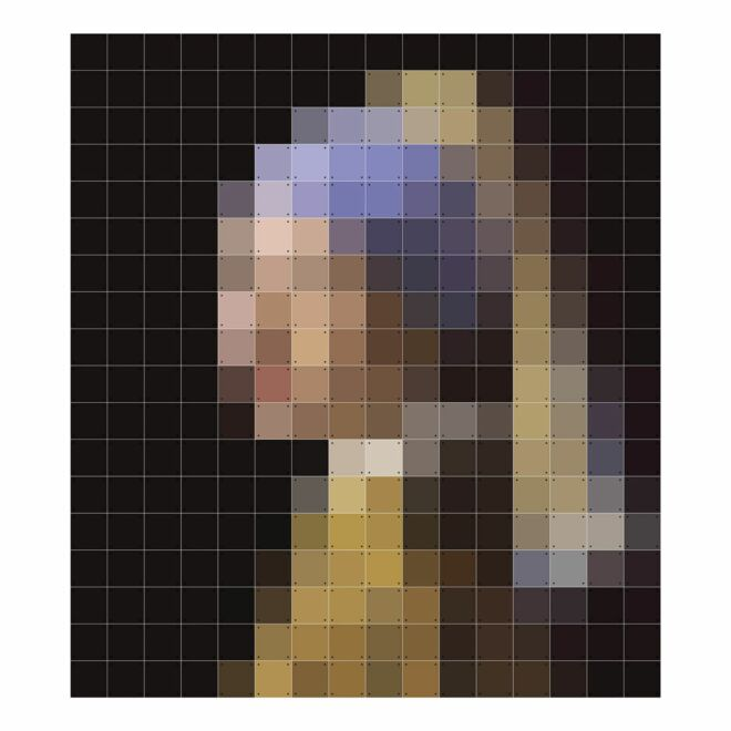OP = OP - Pixel wanddecoratie Ixxi meisje met de parel 252x224cm