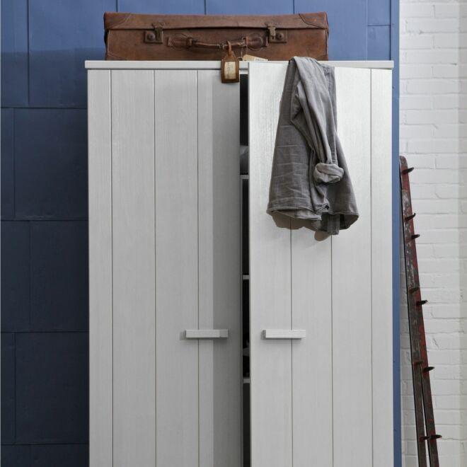 Dennis kledingkast Woood 2-deurs betongrijs
