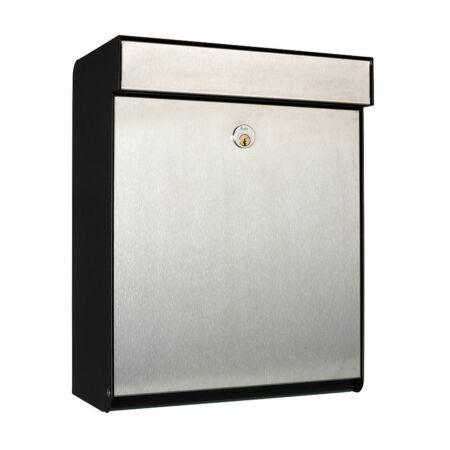 Grundform brievenbus Allux zwart - RVS