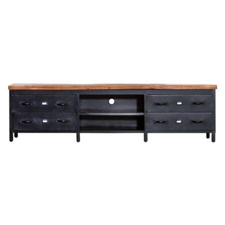 Industrieel TV meubel Eleonora mango hout - 4 lades