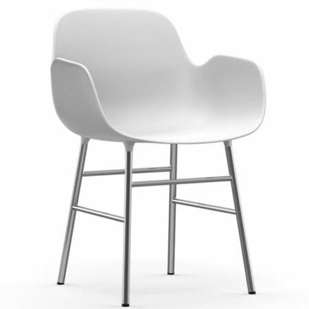 Form Armchair stoel Normann Copenhagen chroom - wit