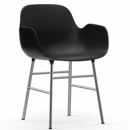 Form Armchair stoel Normann Copenhagen chroom - zwart