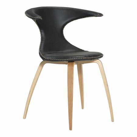 Flair eetkamerstoel Dan-Form eiken - zwart leder