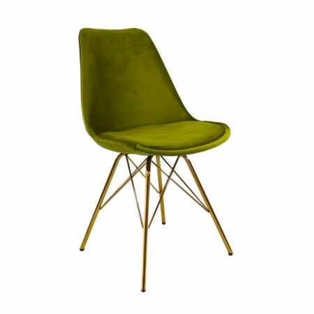 Velvet eetkamerstoel Kick Collection groen - gouden frame