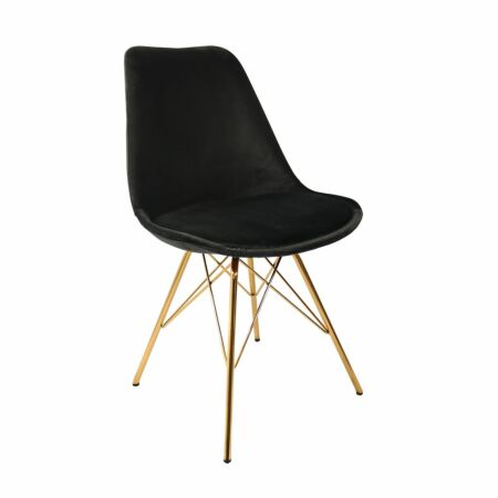 Velvet eetkamerstoel Kick Collection zwart - gouden frame