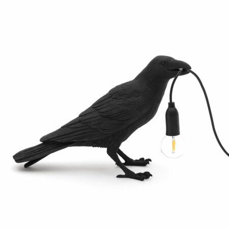Bird tafellamp Seletti wachtend zwart