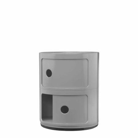 Componibili kast Kartell 2-deurs - zilvergrijs