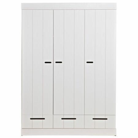 Connect kast Woood 3-deurs strokendeur wit