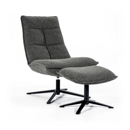 Marcus fauteuil met voetenbank Eleonora - antraciet baquer