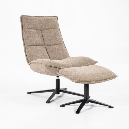 Marcus fauteuil met voetenbank Eleonora - beige baquer
