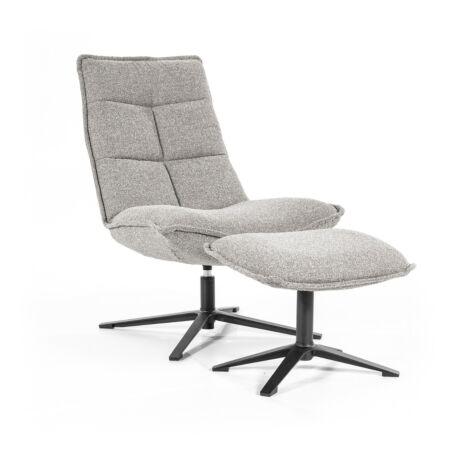 Marcus fauteuil met voetenbank Eleonora - lichtgrijs baquer