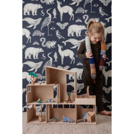 Katie Scott Animal behang Ferm Living - Dark blue