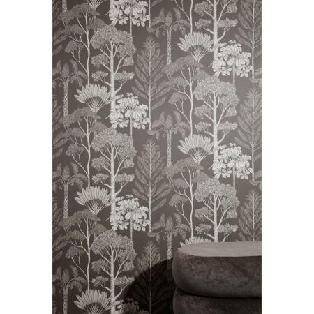 Katie Scott Trees behang Ferm Living - Brown Grey