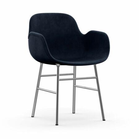 Form Armchair stoel Normann Copenhagen chroom - velvet blauw