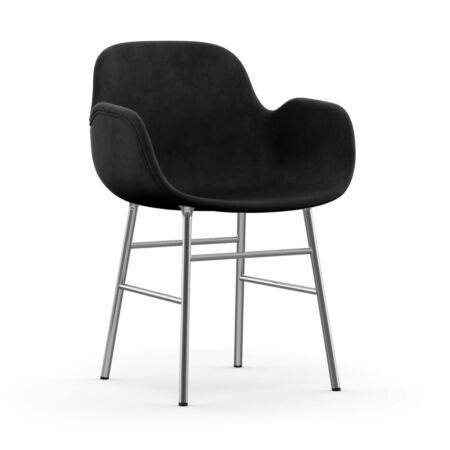 Form Armchair stoel Normann Copenhagen chroom - velvet donkergrijs