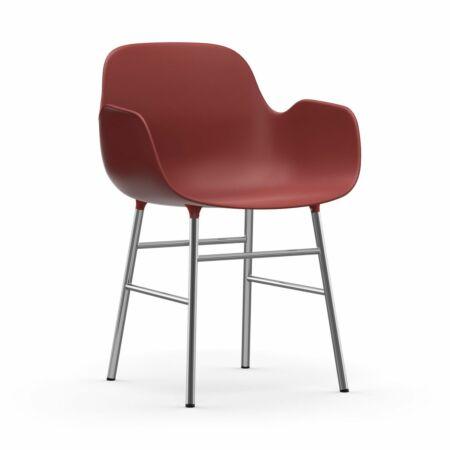 Form Armchair stoel Normann Copenhagen chroom - rood