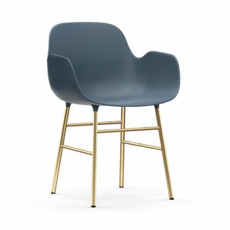 Form Armchair stoel Normann Copenhagen messing - blauw