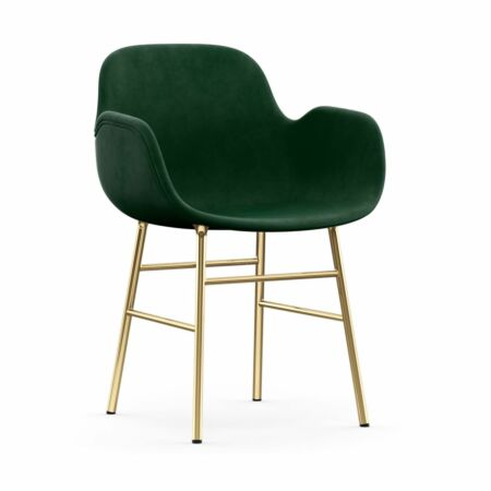 Form Armchair stoel Normann Copenhagen messing - velvet groen