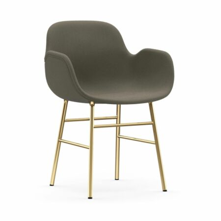 Form Armchair stoel Normann Copenhagen messing - stof greige