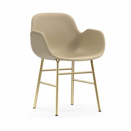 Form Armchair stoel Normann Copenhagen messing - leder beige