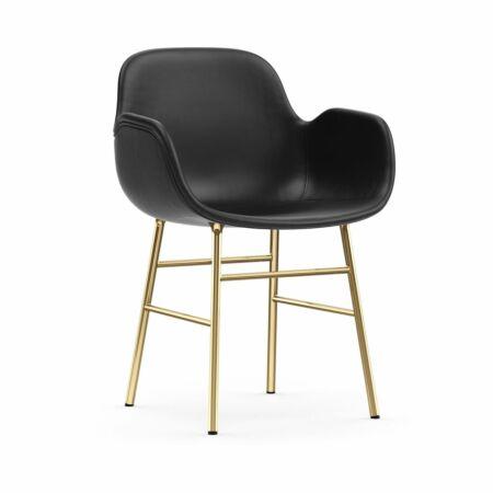 Form Armchair stoel Normann Copenhagen messing - leder zwart