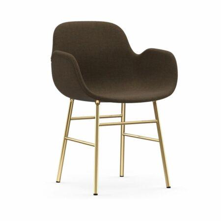 Form Armchair stoel Normann Copenhagen messing - stof donkerbruin