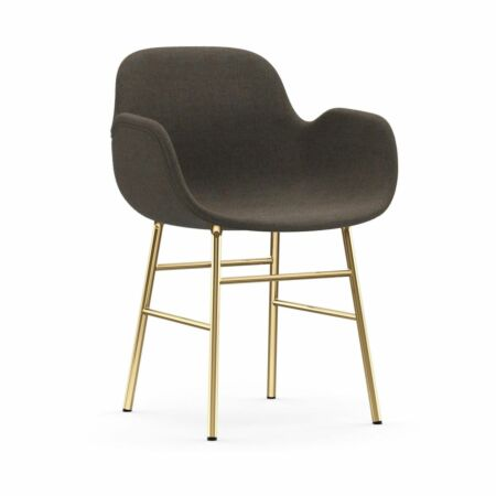 Form Armchair stoel Normann Copenhagen messing - stof grijs