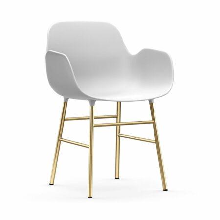 Form Armchair stoel Normann Copenhagen messing - wit
