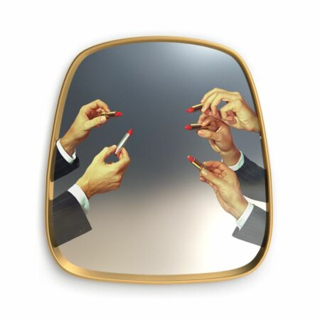 Mirror Gold Frame wandspiegel Seletti Lipsticks