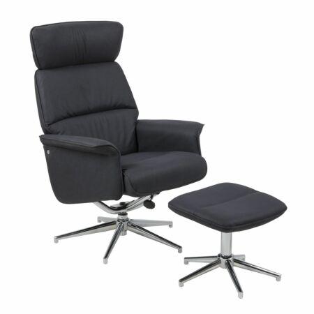 Mateu fauteuil Liv zwart met hocker