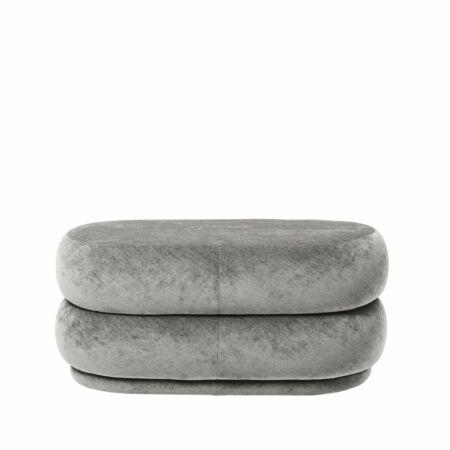 Pouf poef Ferm Living ovaal faded velvet grijs