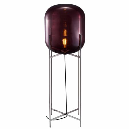 Oda vloerlamp Pulpo 140 helder aubergine/chroom