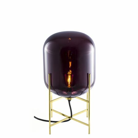 Oda tafellamp Pulpo 45 helder aubergine/messing