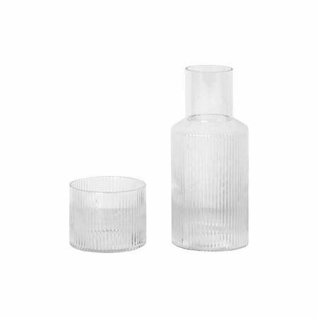 Ripple karaf met glas Ferm Living transparant