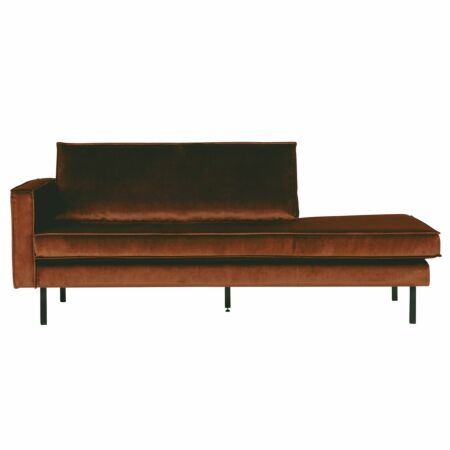 Rodeo chaise longue BePureHome links velvet roest