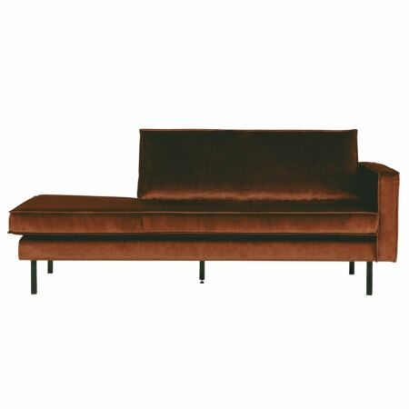 Rodeo chaise longue BePureHome rechts velvet roest
