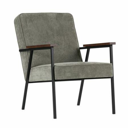 Sally fauteuil Woood vergrijsd groen