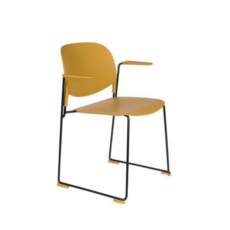 Stacks eetkamerstoel met armleuning luzo - Oker geel