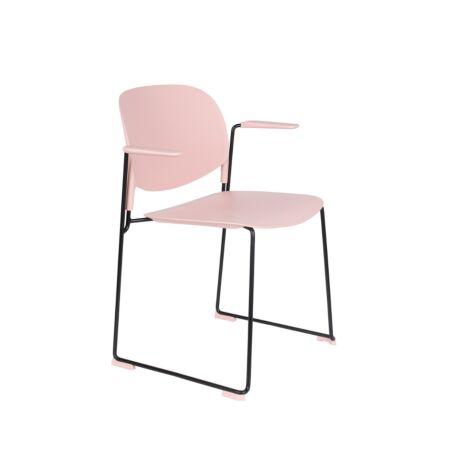 Stacks eetkamerstoel met armleuning Luzo - Roze